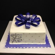 White Fondant with Silver Piping and Lavender Ribbon Bow