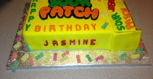 Sour Patch Candy Cake with Yellow Fondant candy Wrapper