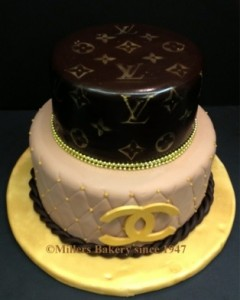 Designer Cake Collections .This Louis Vuitton Inspired Birthday Cake In A Gold ,Brown And Cream Fondant With The Signature LV Logo.Was For A Matinee Birthday PArty At The Waterside Restaurant and Catering In North Bergen
