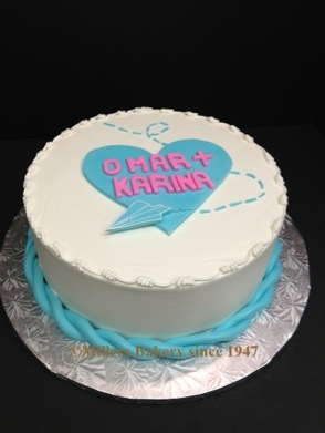 Engagement Initial Heart Cake To Match their Invitation