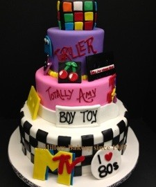 The 80′s are the new 60′s with Decade Themes Birthday Cake .All That is Missing Is The Fanny Pack