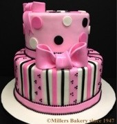This Two Tiered Cake Has A Paris Inspired French Pink Pattern.Sides Has Striped Pattern And Polka Dots and French Pink Bows On Each Tier.