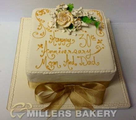 30 Anniversary Square With Gold Flowers And Oversized Bow And Beautiful Gold Roses You May Also Enjoy