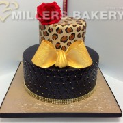 Leopard Print Design Top Tier With Quilted Lower Tier,Add Some Gold Bling And Red Cabbage Rose. You May Also Like