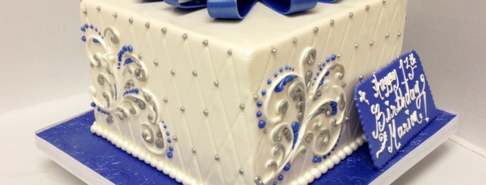 Single Tier Shimmery Blue With Ribbon And Butter Cream Scroll Work You May Also Like