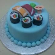 Sushi Cake With Sashimi.8 Inch Serves 10 $125