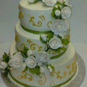 Three Tier Gold Trim Butter Cream