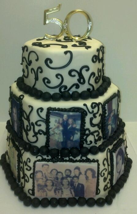 Family Photo 50th Anniversary Cake