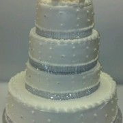 Silver Sparkle Trimmed Wedding Cake