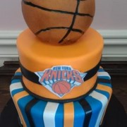 Two Tier Basketball Cake With NY Knicks Logo Front And Center