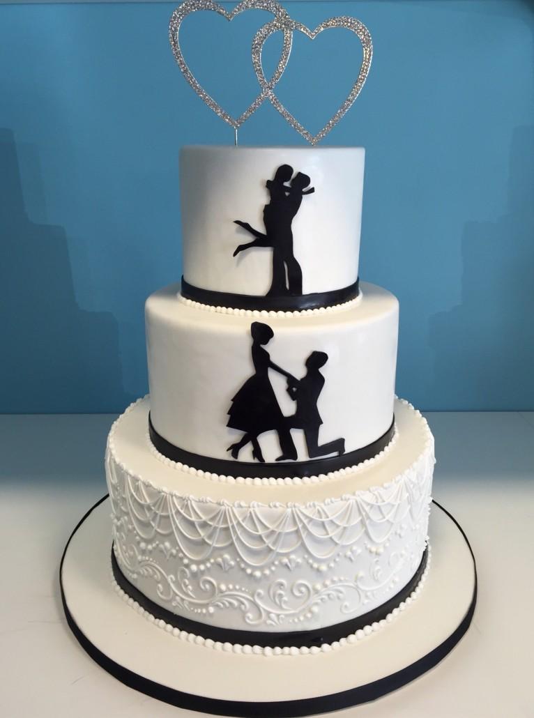Custom wedding cakes millers bakery black and white silhouette junglespirit Gallery